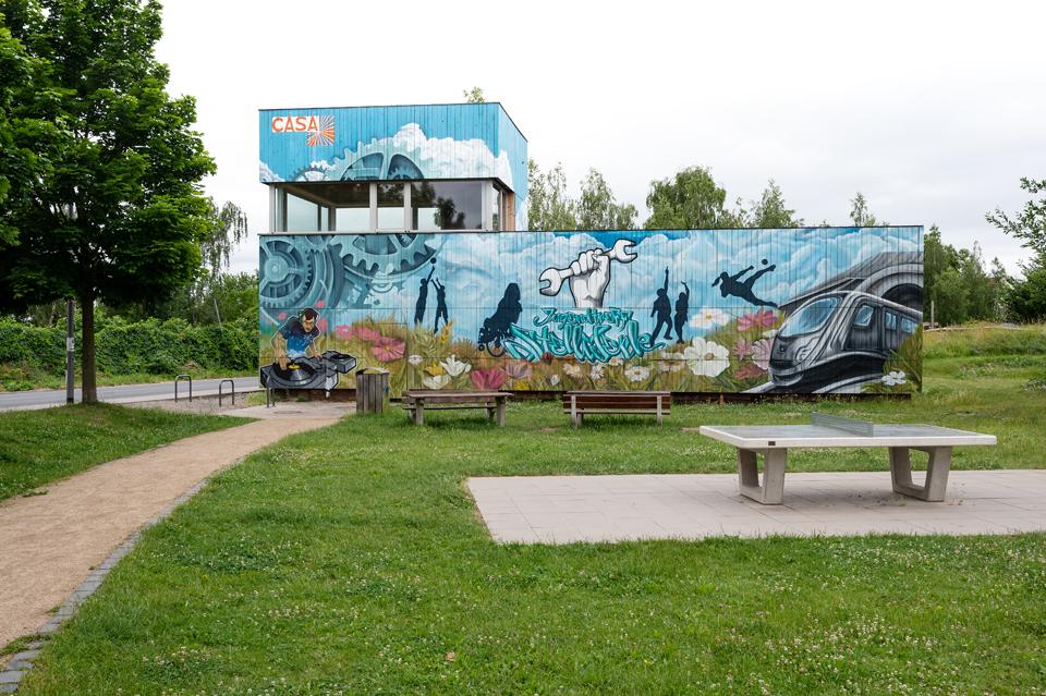 Urban Hiking #2: Ehemaliges Stellwerk des Güterbahnhofes, heute ein Jugendtreff, Wiesbaden, Juni 2021